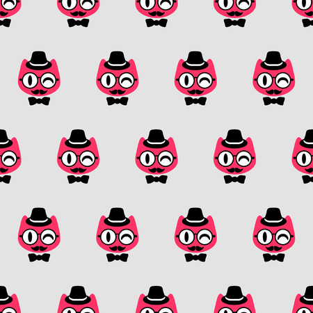 Seamless pattern with funny gentlemen kittens Vector