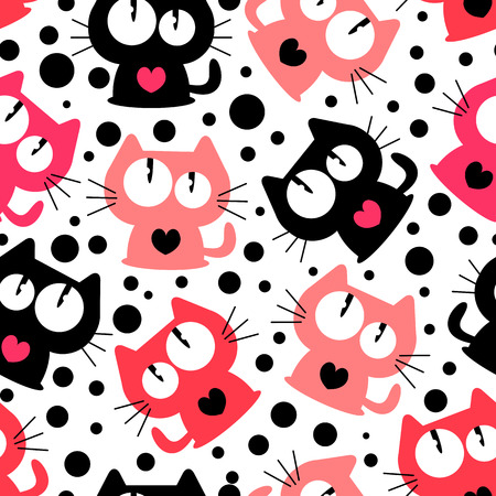 Seamless pattern with cute funny cartoon cats  Vector seamless texture for wallpapers, pattern fills, web page backgrounds Illustration