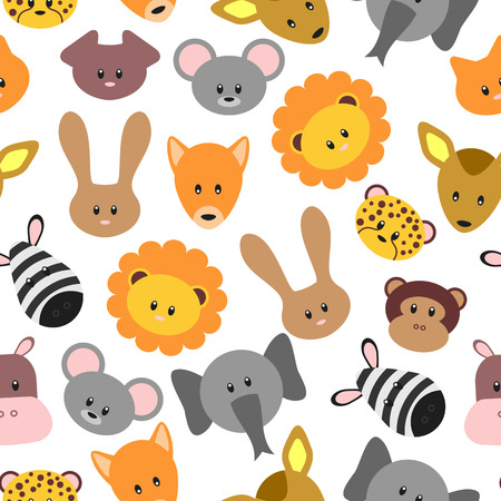 Seamless pattern with cute pet and wild cartoon animals  Vector seamless texture for wallpapers, pattern fills, web page backgrounds Vector