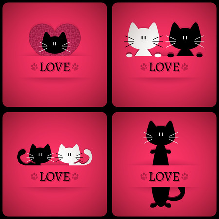 Set of vector romantic cards with two cute cats in love Vector