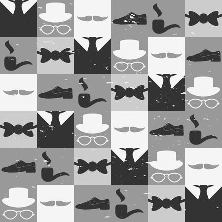 dandy: Dandy elements beautiful seamless pattern male fashion