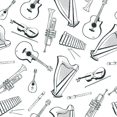 Seamless pattern with musical instruments: acoustic guitar, harp, mandolin, xylophone, trumpet, flute, violin Vector