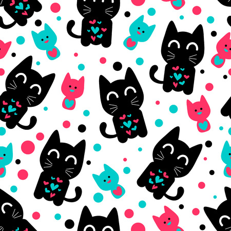 Seamless pattern with cute funny kittens. Vector seamless texture for wallpapers, pattern fills, web page backgrounds Vector