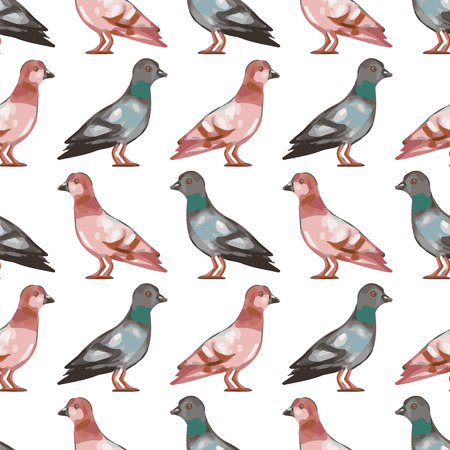 seamless pattern with birds cute pigeons vector seamless texture