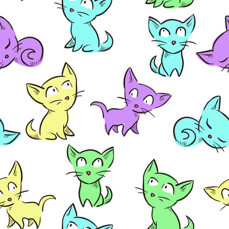 Seamless pattern with cute little kittens. Vector seamless texture for wallpapers, pattern fills, web page backgrounds Vector