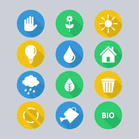 Set of flat icons ecology concept Vector