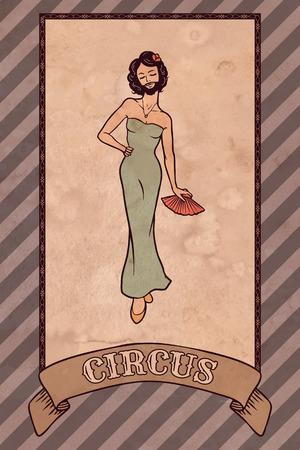 ビンテージのサーカスのイラスト、髭がある女性  イラスト・ベクター素材