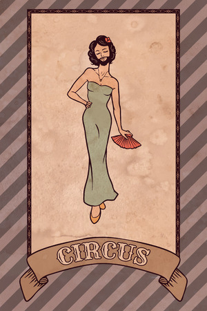 Vintage circus illustration, the bearded lady