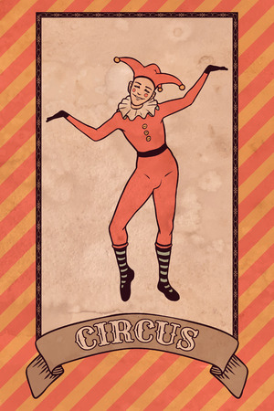Weinlese-Zirkus-Illustration, Harlekin Standard-Bild - 29618618