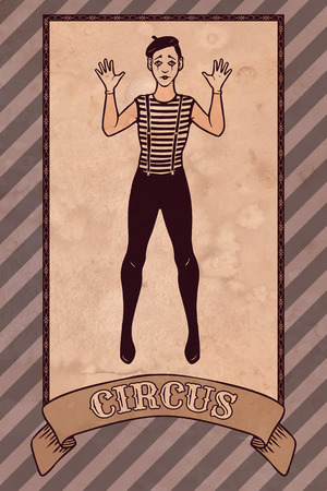 circus artist: Vintage circus illustration, mime