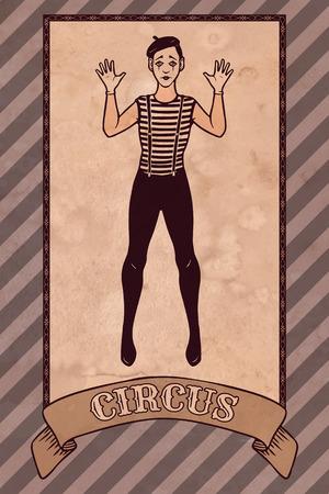 mime: Vintage circus illustration, mime