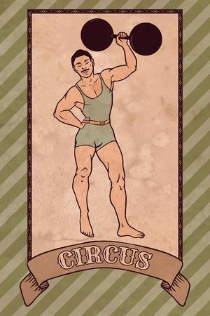 Vintage circus illustration, strong man Illustration