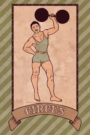 theater man: Vintage circus illustration, strong man Illustration