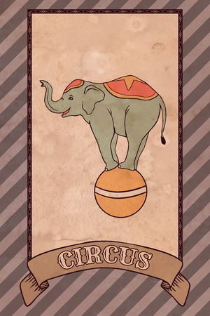 Vintage circus illustration, elephant Vector