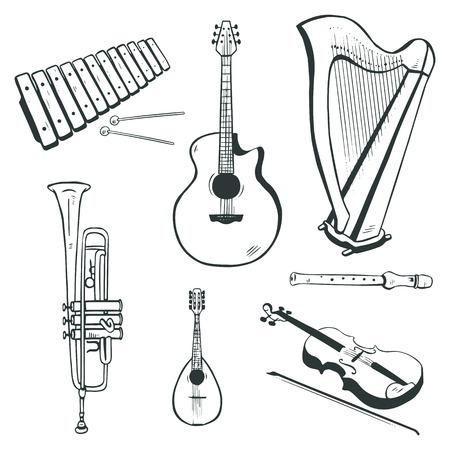Set of vector musical instruments  acoustic guitar, harp, mandolin, xylophone, trumpet, flute, violin Vector