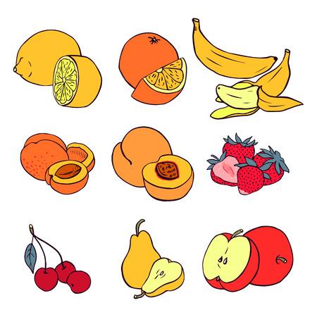 Set of various fruit  banana, peach, strawberry, cherry, pear, lemon, orange, apricot, apple Vector