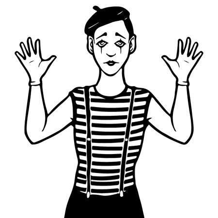 mime: Mime vector illustration, black and white Illustration