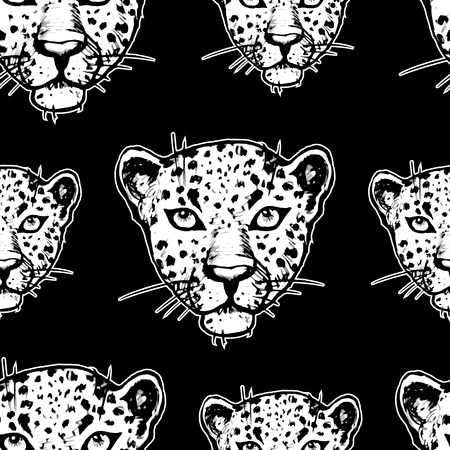 Seamless pattern with leopards  Vector seamless texture for wallpapers, pattern fills, web page backgrounds Vector