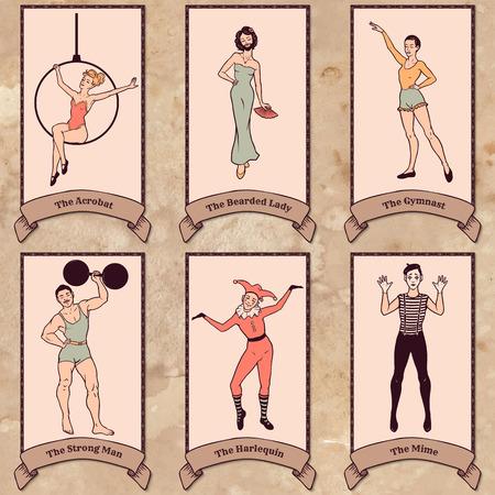 vintage lady: Vintage circus tekens ingesteld acrobaat, de bebaarde dame, turner, sterke man, harlekijn, mime Stock Illustratie