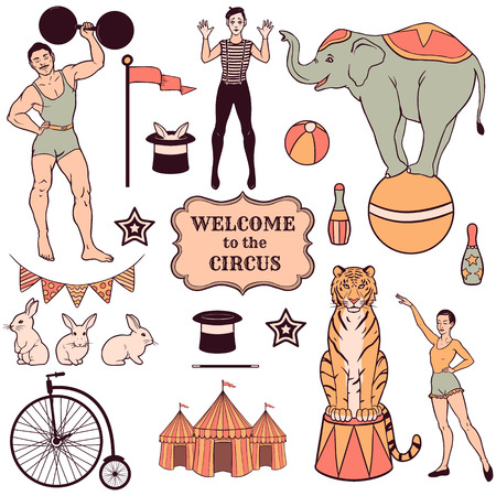 vintage clothing: Set of various circus elements, people, animals and decorations Illustration