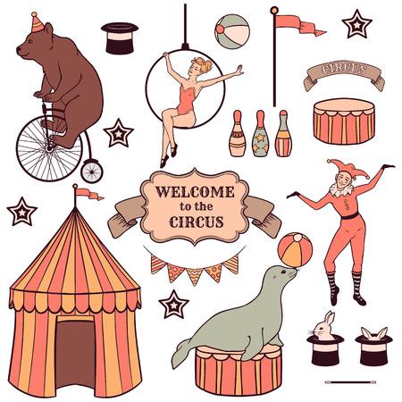 다양한 서커스 요소, 사람, 동물 및 장식 세트