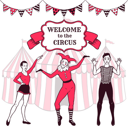 Circus performance advertisement with performers Vector