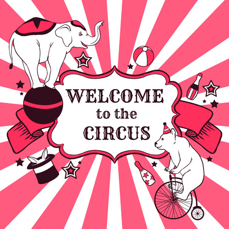 Circus performance advertisement with animals Vector