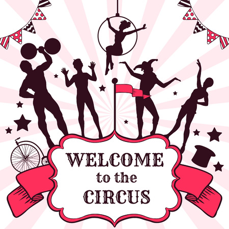 Circus performance advertisement with silhouettes of performers Vector