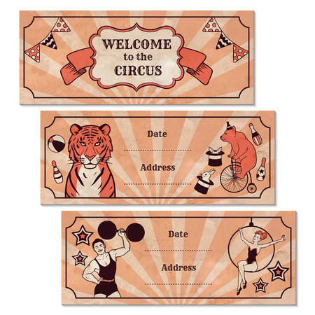 Set of vintage circus advertisement banners Vector
