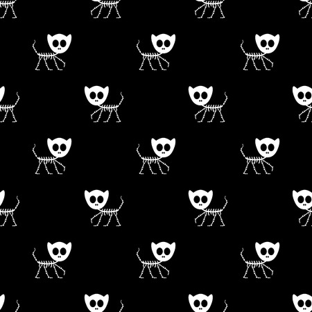 Seamless pattern with funny kitty skeletons  Vector seamless texture for wallpapers, pattern fills, web page backgrounds Vector