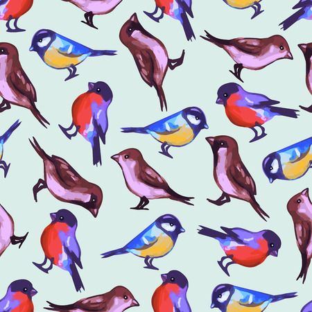 Seamless pattern with cute little birds  Vector seamless texture for wallpapers, pattern fills, web page backgrounds Vector