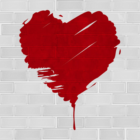 Grunge red heart on brick wall Vector