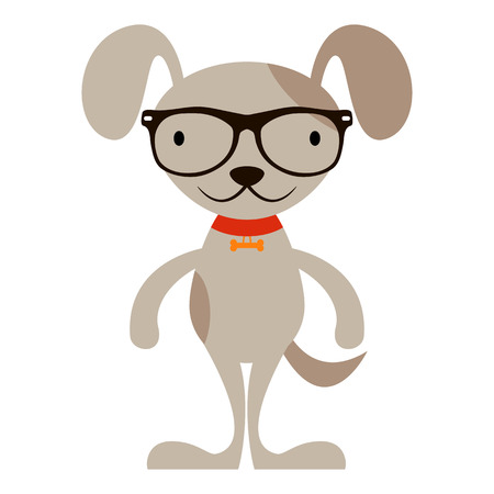 cute cartoon dog: Cute cartoon dog in hipster glasses isolated on white