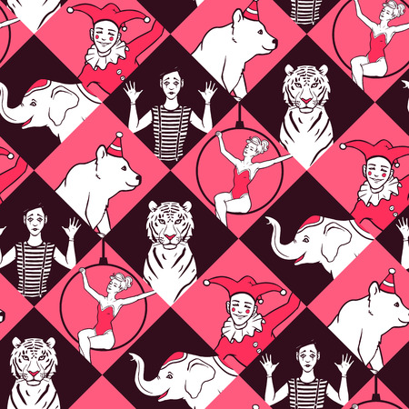 circus performers: Seamless pattern with circus performers  Vector seamless texture for wallpapers, pattern fills, web page backgrounds