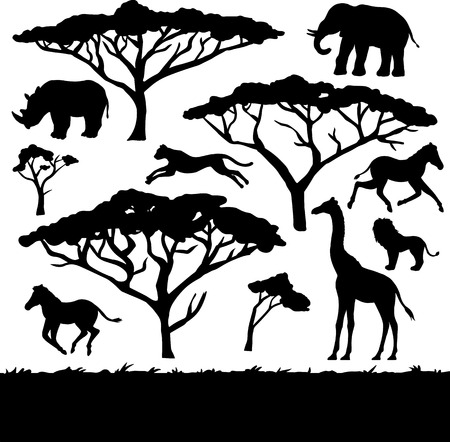 African trees and animals, set of black silhouettes Vector