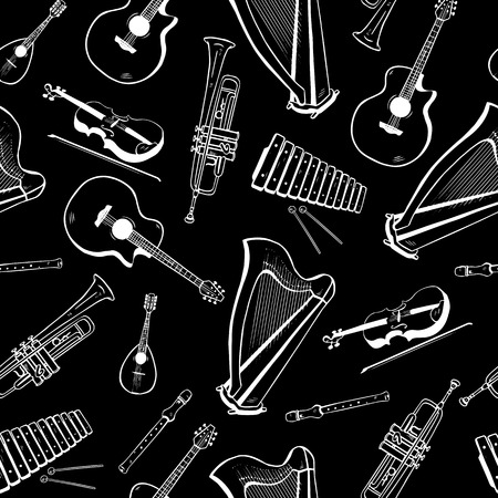 Seamless pattern with musical instruments  acoustic guitar, harp, mandolin, xylophone, trumpet, flute, violin Vector