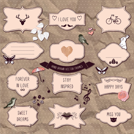 Set of romantic scrapbook elements, hand drawn frames and decorative things Vector