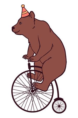 circus bike: Ilustraci�n del circo, oso