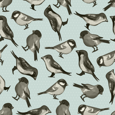Seamless pattern with cute little birds  Vector seamless texture for wallpapers, pattern fills, web page backgrounds