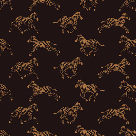 Seamless pattern with running zebras Vector