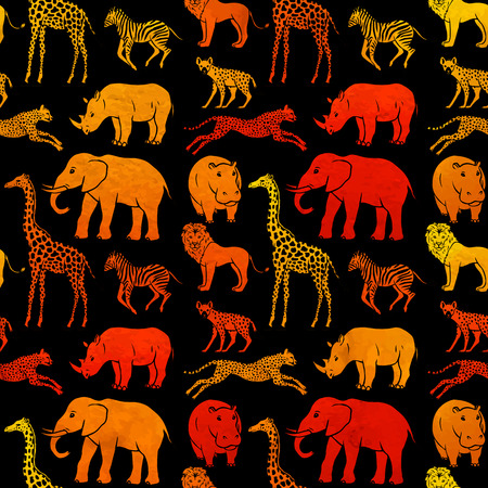 Seamless pattern with African animals Vector