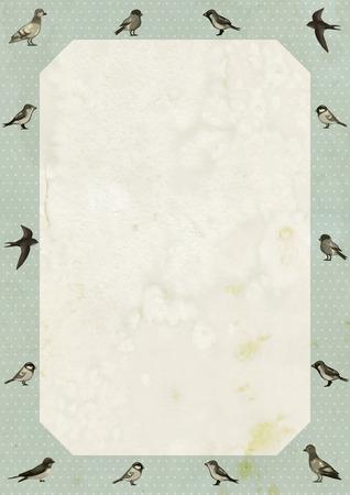 martinet: Design Vintage frame avec des oiseaux mignons