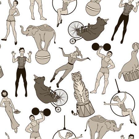 act: Seamless pattern vintage circus theme, performers and animals