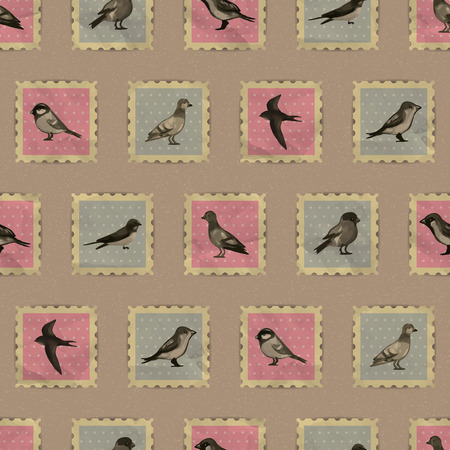 Seamless pattern with cute vintage bird stamps Vector