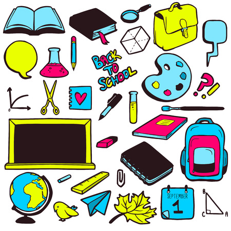 Set of various school elements, colorful hand drawn collection of objects Vector