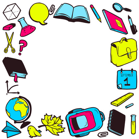 Frame with various school elements and place for your text Vector