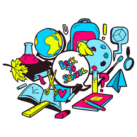 Back to school colorful illustration with various hand drawn school elements Vector