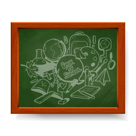 Back to school illustration, various school elements drawn in chalk on green blackboard Vector