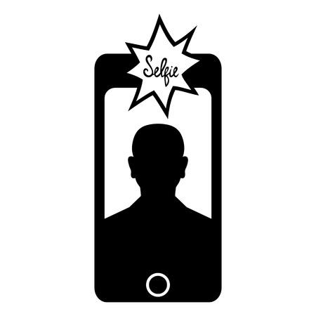 Selfie on smartphone icon Vector