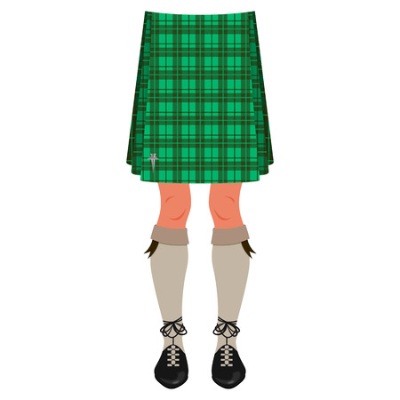 Male legs in kilt isolated on white, scottish national costume